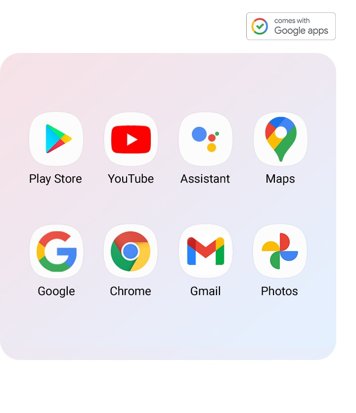 Installed on Google Apps on Galaxy A02 are shown(Play Store, YouTube, Assistant, Maps, Google, Chrome, Gmail, Photos)
