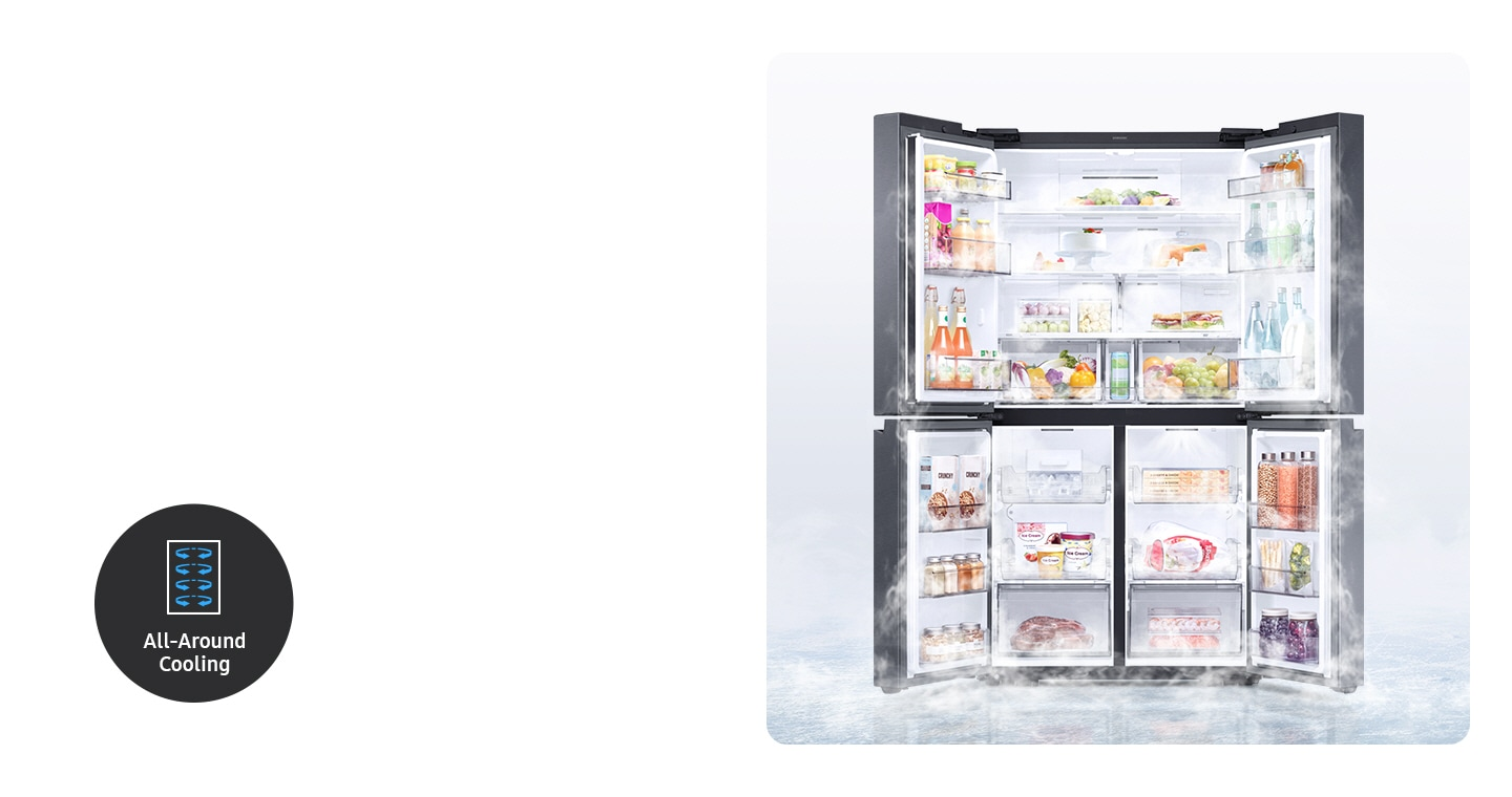A 4-door fridge is wide open, with cold air circulating evenly around the organized food and beverage compartments.