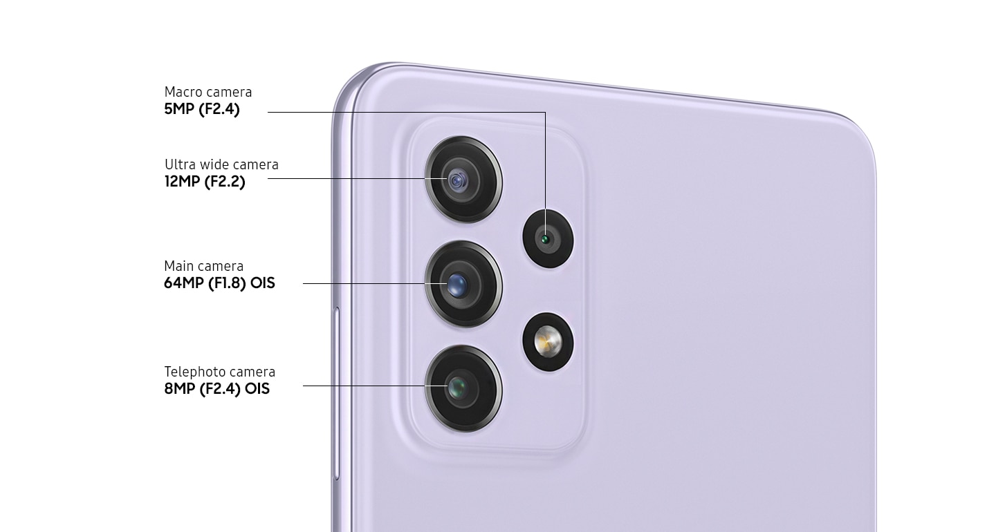 A rear close-up of advanced Quad Camera on the Awesome Violet model, showing F2.4 8MP OIS Telephoto camera, F1.8 64 MP OIS Main Camera, F2.2 12MP Ultra Wide Camera and F2.4 5MP Macro Camera.