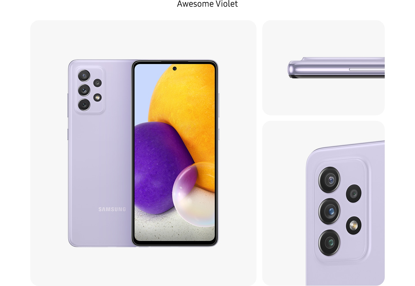 Galaxy A72 in Awesome Violet, seen from multiple angles to show the design: rear, front, side and close-up on the rear camera.