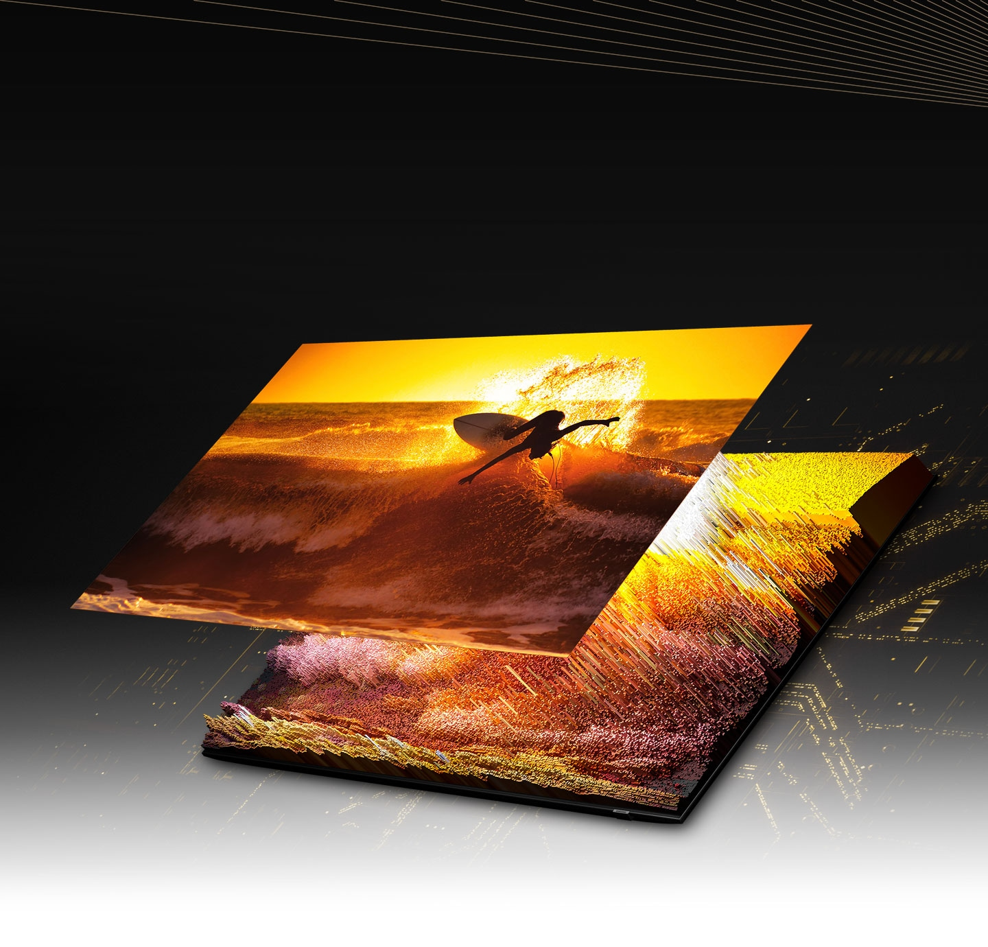 Through the Quantum Mini LED and microlayer, the image of a surfer on the screen is displayed in detail in bright and dark areas, showing very clearly.