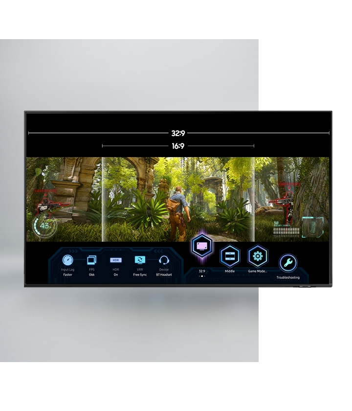 QLED TV 32:9 and 16:9 aspect ratio options of super ultrawide gameview which are being accessed during video game gameplay through QLED TV Game Bar which allows more in-game controls of various settings.