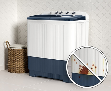 WT4000AM is installed in the laundry room cleanly without rust.