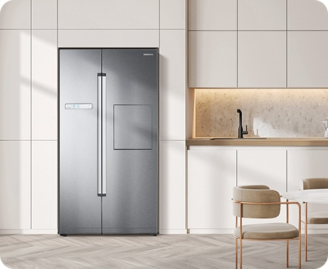 The fridge's elegant design blends smoothly in the space, with a recessed handle, LED display, and choice of premium colors.