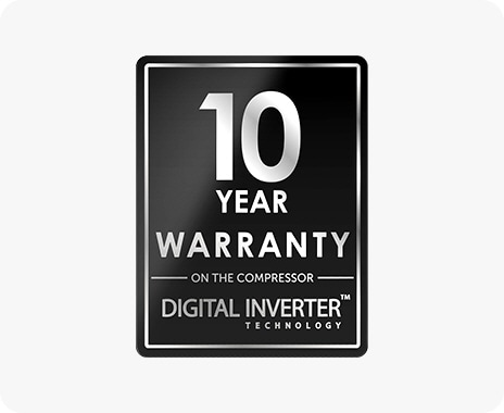 There is Samsung's Digital Inverter Technology logo, indicating a 10-year warranty on the compressor.