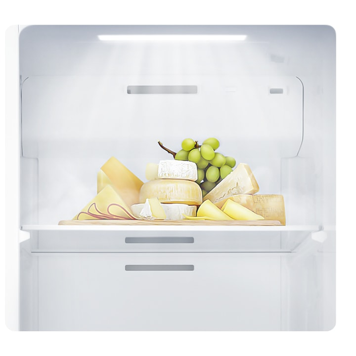 LED lighting illuminates food inside, helping you find items easily, while taking up less space and cutting energy use.