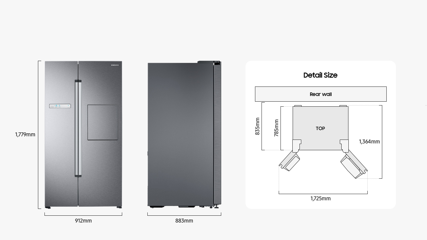 There are front and side views of the fridge and illustrations of the top view with detailed dimensions to ensure the fridge fits the interior. The height, width, and depth are 1,779mm, 912mm, and 883mm, respectively. Not including the depth of the doors, the distance from the rear wall to the front is 835mm, and the distance from the back of the unit to the front is 785mm. The distance from the back of the fridge to the front when the door is open is 1,364mm. The width of the doors when wide open is 1,725mm.