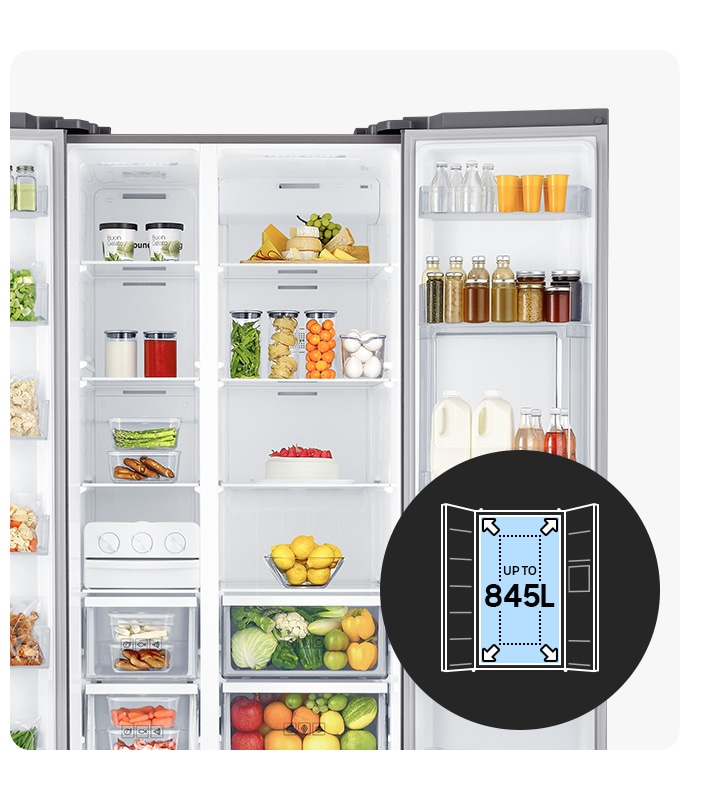 The 2 doors are open to demonstrate the large storage capacity up to 845L and compartments for easy use and neat organization.