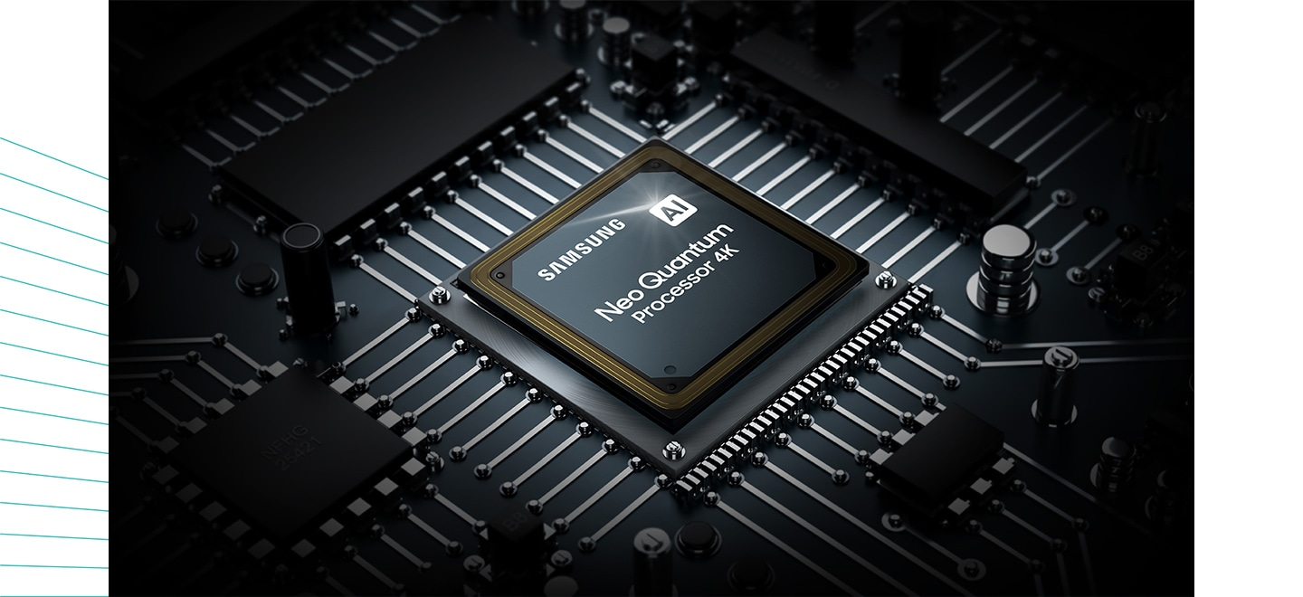 The Neo QLED TV processor chip is shown. The Samsung logo as well as the AI Neo Quantum Processor 4K logo can be seen on top.