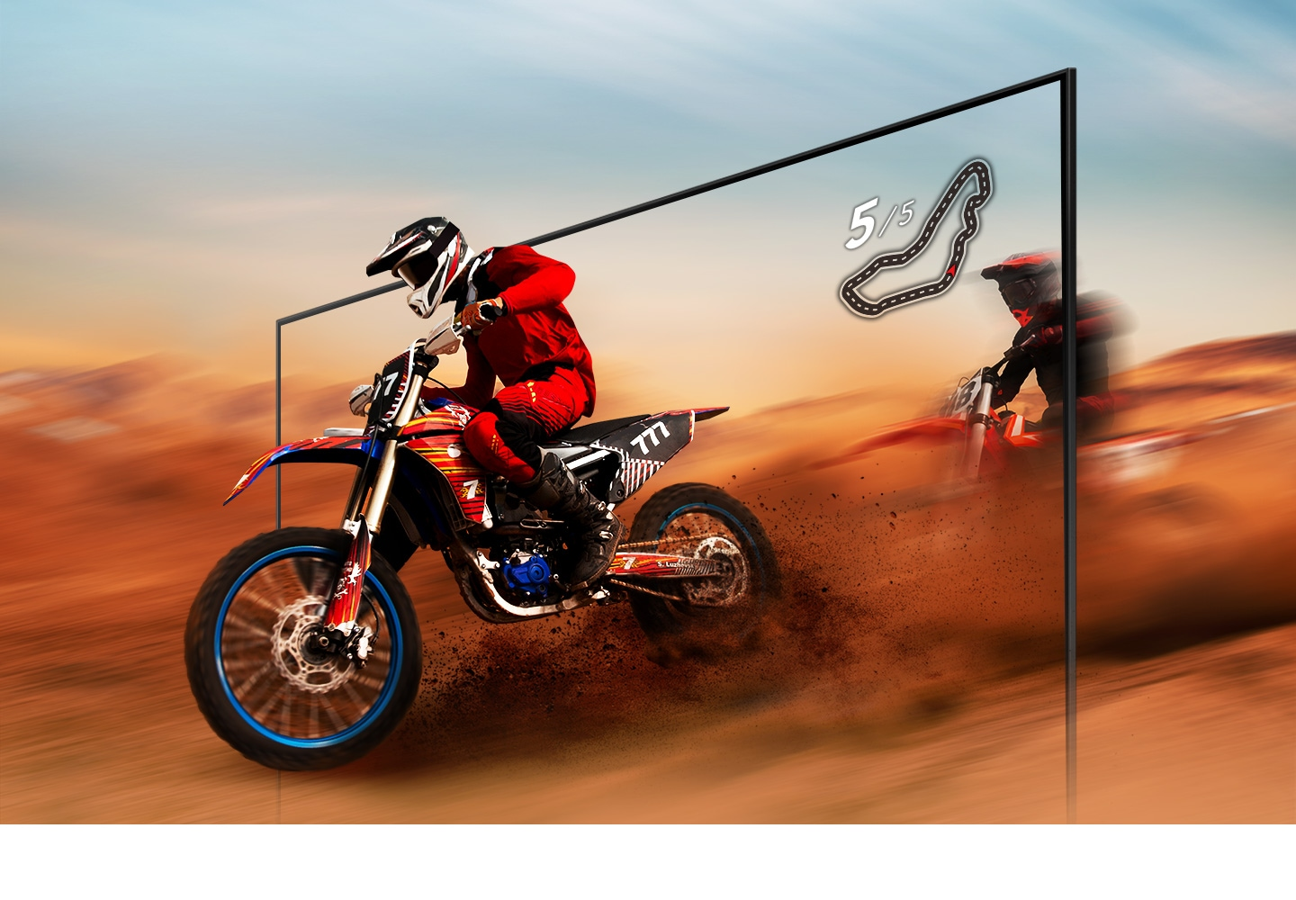 A dirt bike racer looks clear and visible inside the UHD TV screen because of UHD TV motion xcelerator technology.