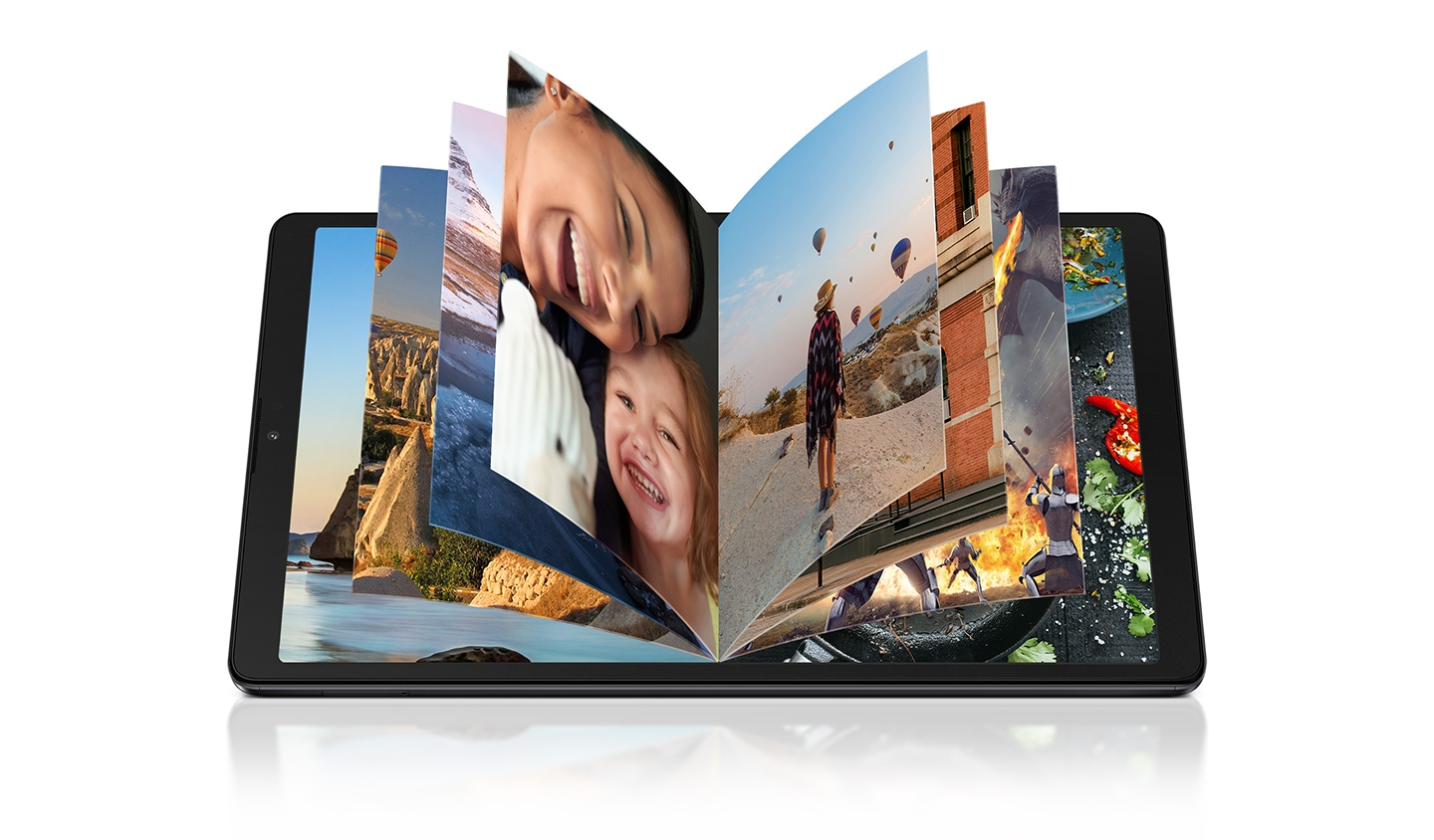 Photos are flipped through on the Galaxy Tab A7 Lite's device, demonstrating how much content can be stored on the device.