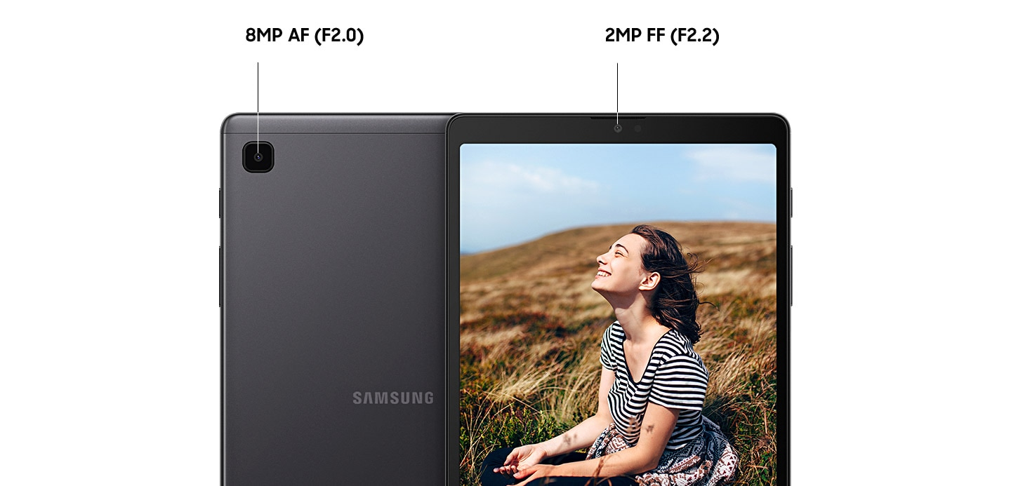Rear and front view of Galaxy Tab A7 Lite showing a close-up of Auto Focus 8MP rear camera, f2.0 and Full Frame 2MP front camera f2.2. A girl on the display while being taken pictures.