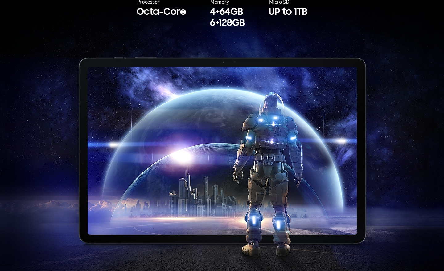 Galaxy Tab S7 FE seen from the front with a futuristic scene from a game onscreen. A person in a spacesuit stands in front of the screen, staring into the scene of glass bubbles surrounding a cityscape. Text says Processor Octa-core, Memory 4 plus 64GB, 6 plus 128GB, MicroSD up to 1TB.
