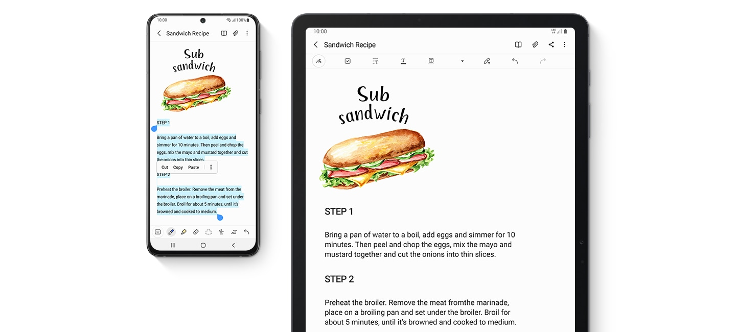 1. Galaxy smartphone and Galaxy Tab S7 FE, both seen from the front. Both have the same website onscreen, showing a blog with recipes.  2. Galaxy smartphone and Galaxy Tab S7 FE, both seen from the front. Both have Samsung Notes onscreen, showing the recipe for a Sub sandwich.  3. Galaxy smartphone, Galaxy Buds Pro and Galaxy Tab S7 FE. Galaxy Buds Pro is seen from the top, open with the earbuds inside. The phone shows the Music app onscreen and a notification that Ben's Galaxy Buds Pro switched to the tablet. The tablet shows a video call between a man and a woman and a notification that Galaxy Buds Pro connected automatically.