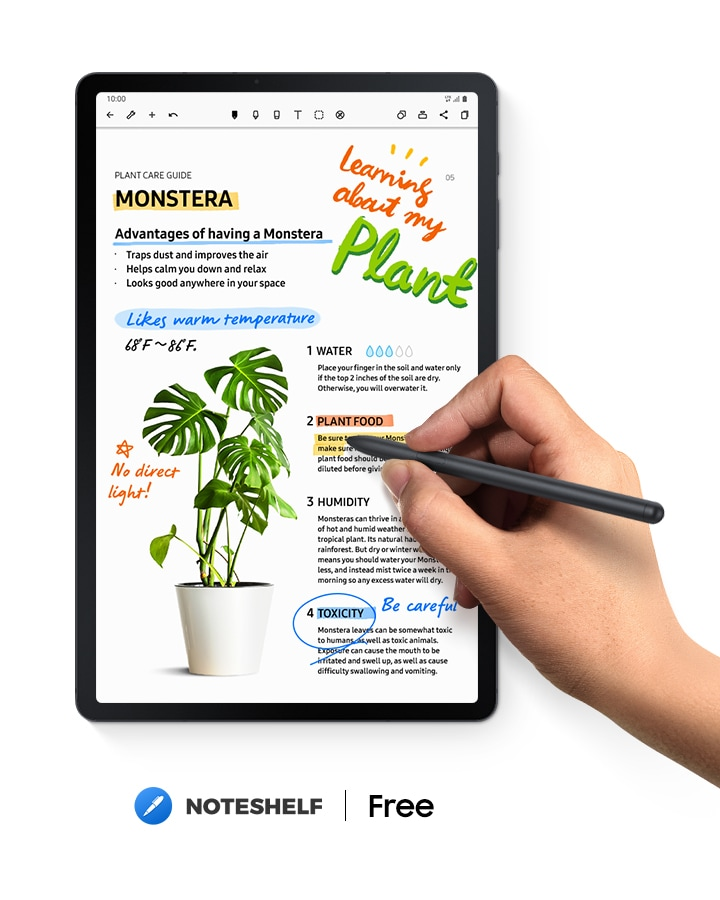 Galaxy Tab S7 FE seen with the Noteshelf app onscreen and notes regarding plants. A hand holds S Pen over it while writing. Noteshelf logo. Text says Free.