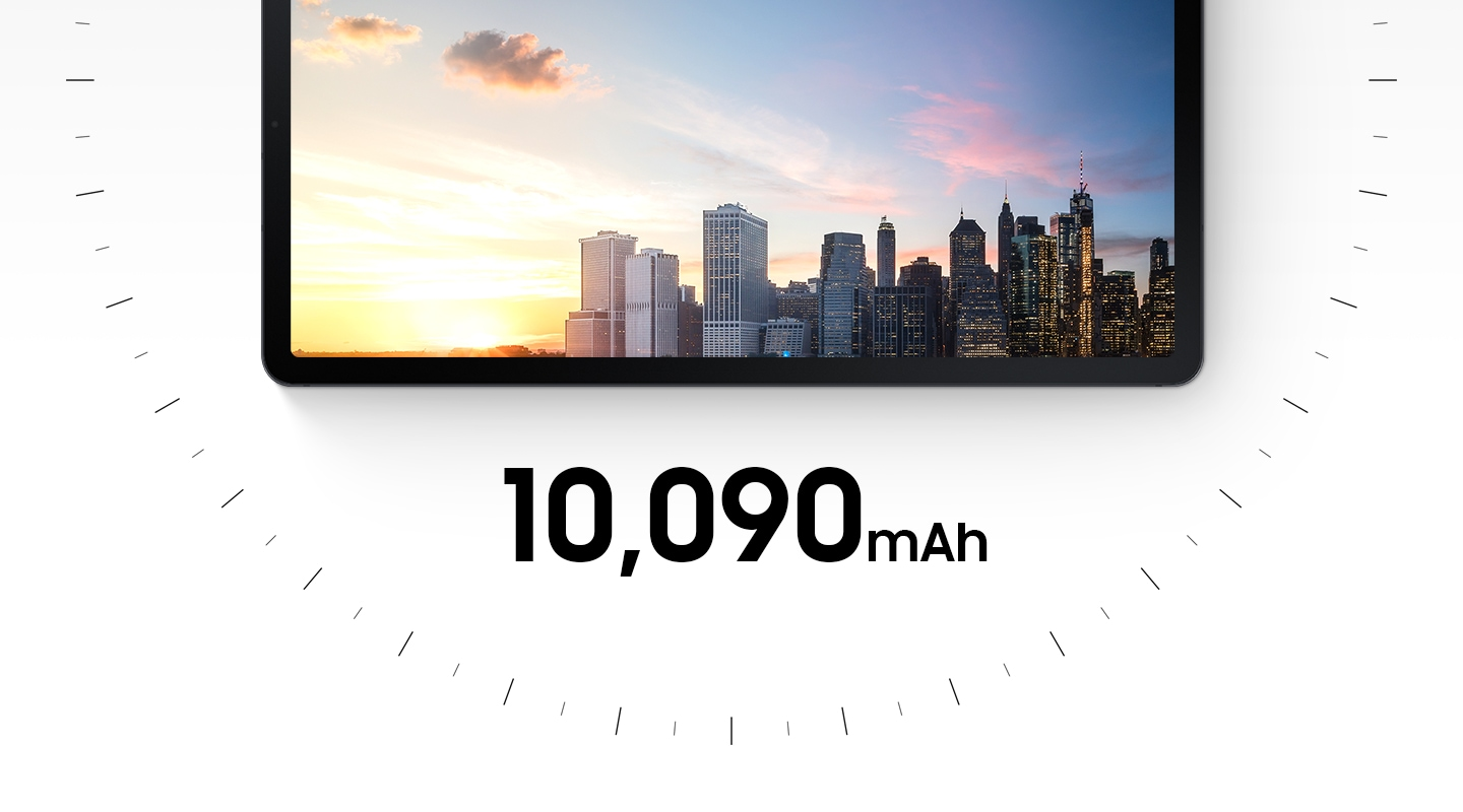 Half of Galaxy Tab S7 FE seen from the front with an image of a cityscape that goes from sunrise to sunset onscreen. There are dashes surrounding it in the shape of a clock. Text says 10,090mAh.