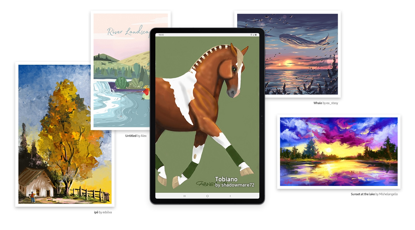 Galaxy Tab S7 FE seen from the front with a drawing of a horse onscreen, made by a PENUP artist. On either side of the tablet are other drawings from PENUP artists, including a tree with yellow foliage, a river landscape with trees and hillsides, a moody ocean view with clouds shaped like whales over the water and a sunset over a body of water, with a purple sky lit up against a yellow setting sun. All these together show the range of masterpieces that you can create on the tablet with S Pen.