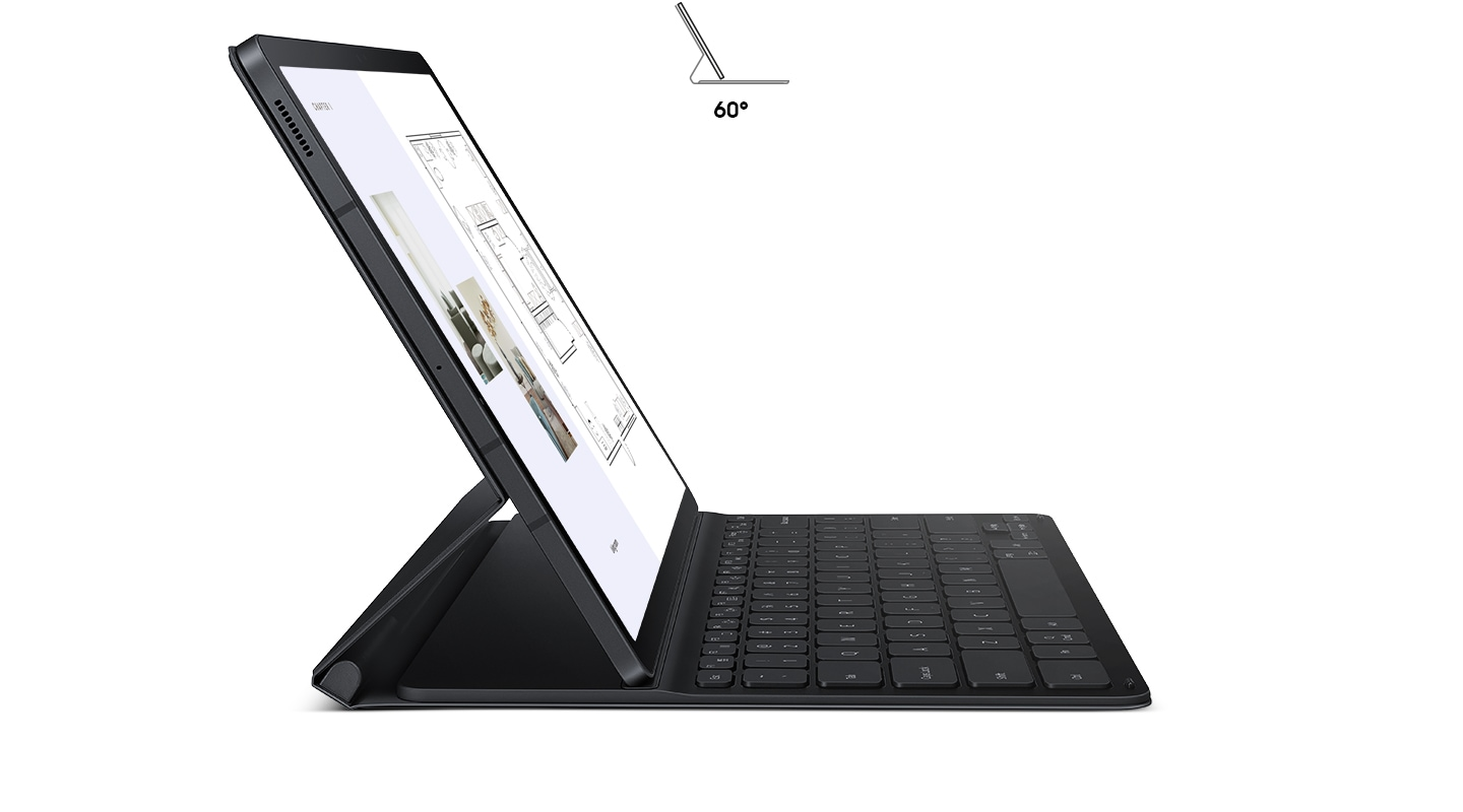 Galaxy Tab S7 FE seen in Book Cover Keyboard Slim, in profile from the side. The kickstand in back is out, holding the tablet up at a comfortable angle. An icon of the tablet inside the cover also demonstrates the 60-degree angle.