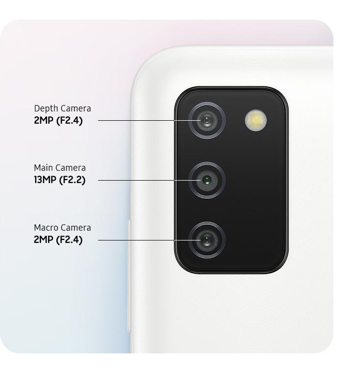 A rear close-up of Triple Camera on the White model, showing F2.4 2MP Depth Camera, F2.2 13MP Main Camera and F2.4 2MP Macro Camera.