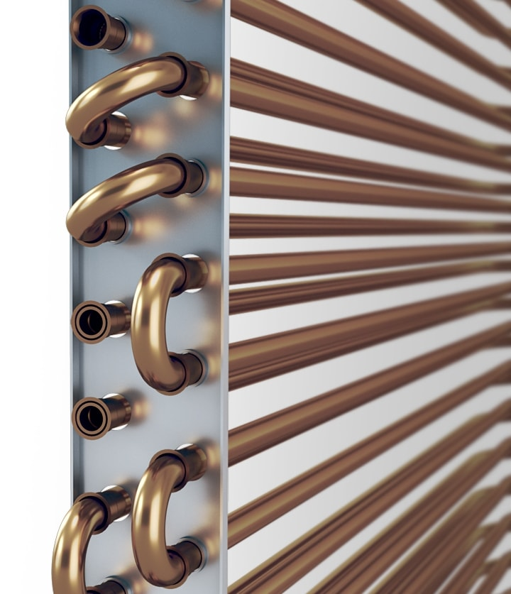 A close-up of the durable copper tube and anti-corrosion coated Copper Condenser condenser.