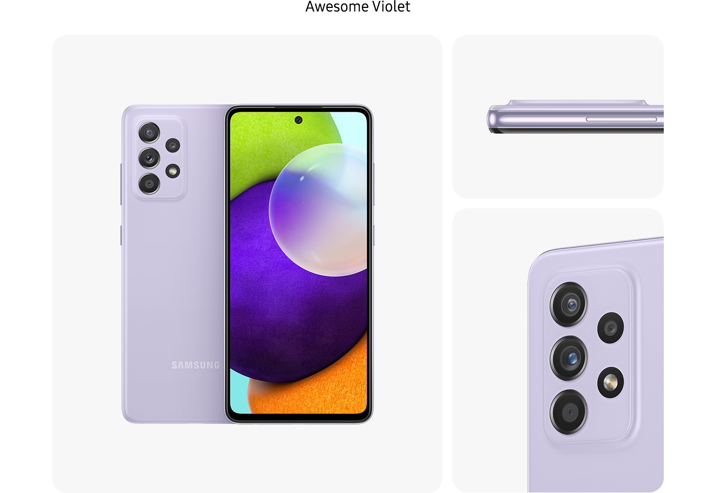 Galaxy A52 in Awesome Violet, seen from multiple angles to show the design: rear, front, side and close-up on the rear camera.