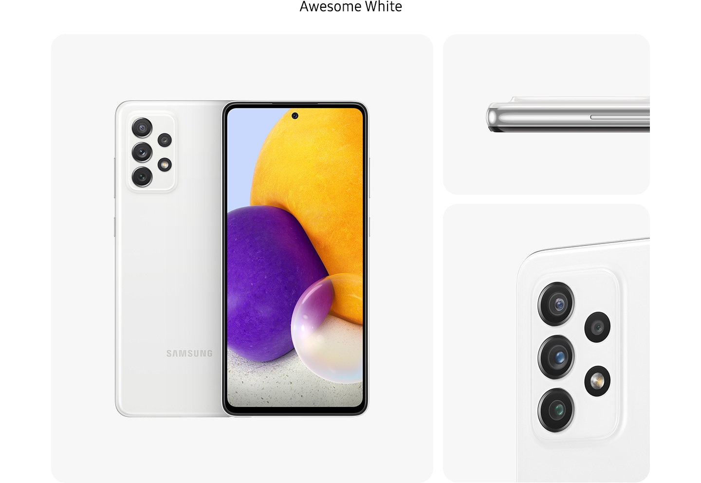 Galaxy A72 in Awesome white, seen from multiple angles to show the design: rear, front, side and close-up on the rear camera.