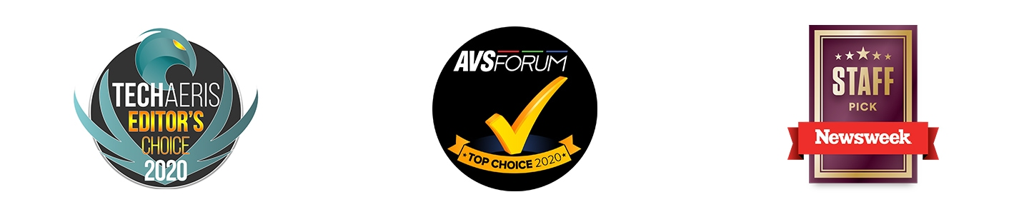 There're award logos; Editor's choice 2020 from TechAeris, Top choice 2020 from AVS Forum, and staff pick from Newsweek.