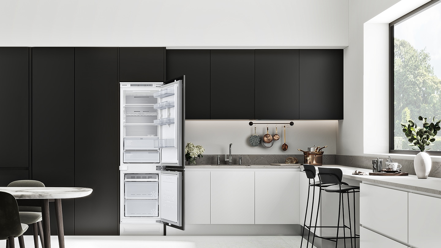 The BRB6000M is neatly installed with the cabinets in the kitchen.
