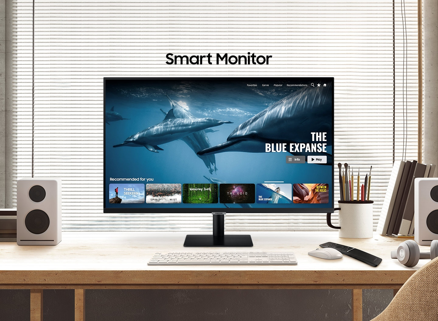 Below the title \One for all,\ a vertical line divides two different images of a monitor. The line slides right to reveal an office desk with powerpoint on the monitor and the words \Work Smart\, and slides left to reveal a home desk with a movie playing on the monitor and the words \Play Smart.\