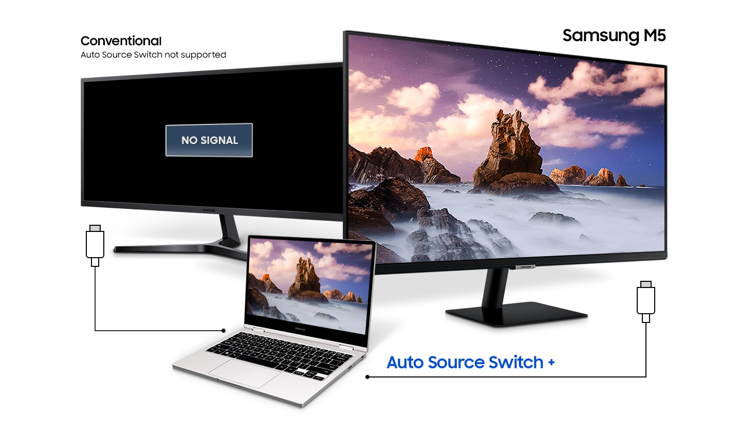 A laptop is connected to the M7 and a conventional monitor. Only the M5 shows the laptop's display with Auto Source Switch +.