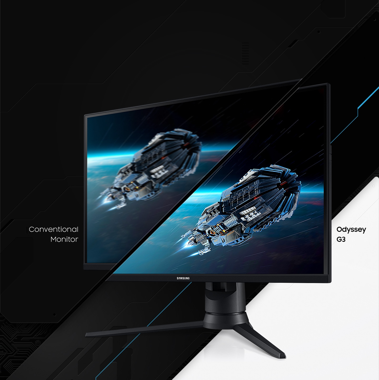 The response time of Odyssey G3 and the conventional monitor are compared by showing the blurry picture on the conventional