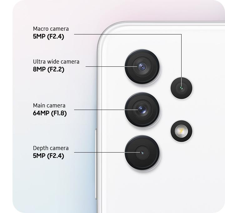 A rear close-up of advanced Quad Camera, showing F1.8 64MP  Main Camera, F2.2 8MP Ultra Wide Camera, F2.4 5MP Depth Camera and F2.4 5MP Macro Camera.