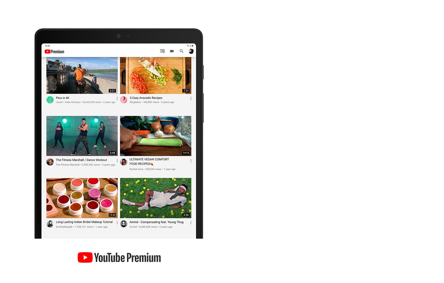 YouTube is displayed on Galaxy Tab A7 Lite showing an assortment of YouTube Premium videos. YouTube Premium logo is displayed.