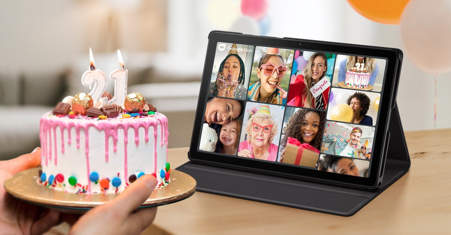 A group celebrates a birthday together on a video call using Google Duo on Galaxy Tab A7.