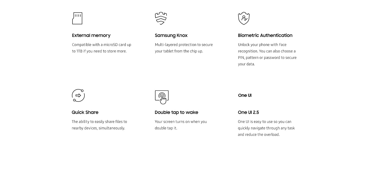 6 features explained: External memory, Samsung Knox, Biometric Authentication, Quick Share, Double tap to wake, One UI 2.5.