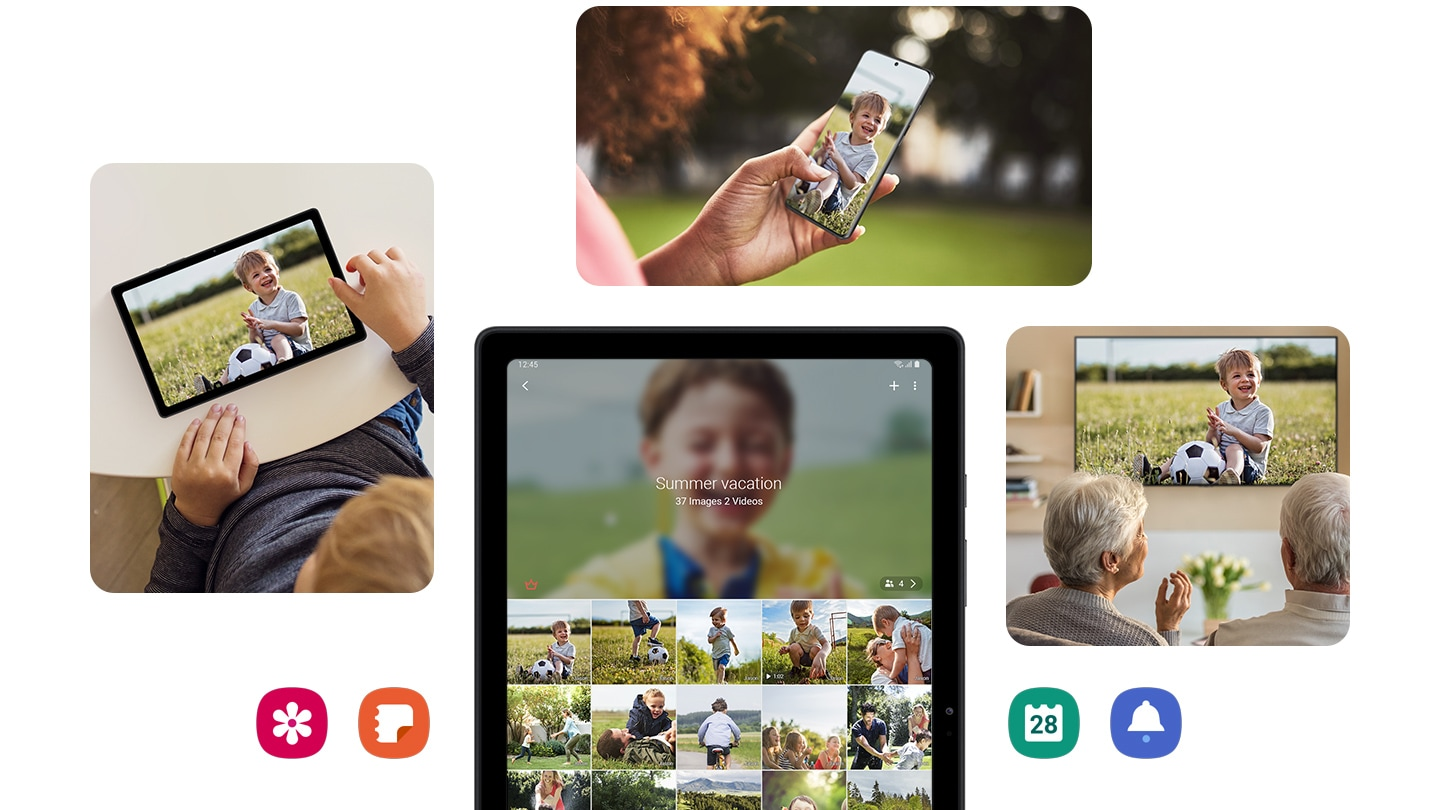 4 photos depict how easily a file can be shared with a group via Samsung Quick Share and Group Content Share.