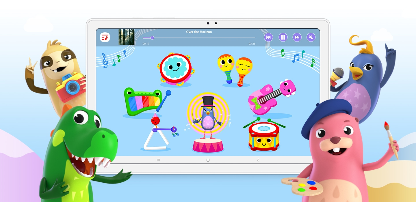 Animated characters from the Samsung Kids App wave enthusiastically as a scene from a game is displayed on Galaxy Tab A7.