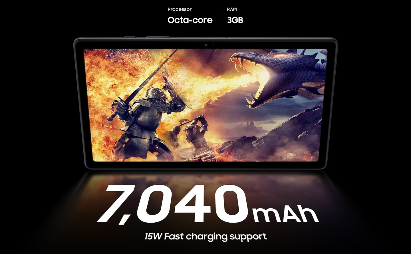 A scene from an action-adventure game is displayed on Galaxy Tab A7 with the texts Octa-core processor and 3GB RAM above it.