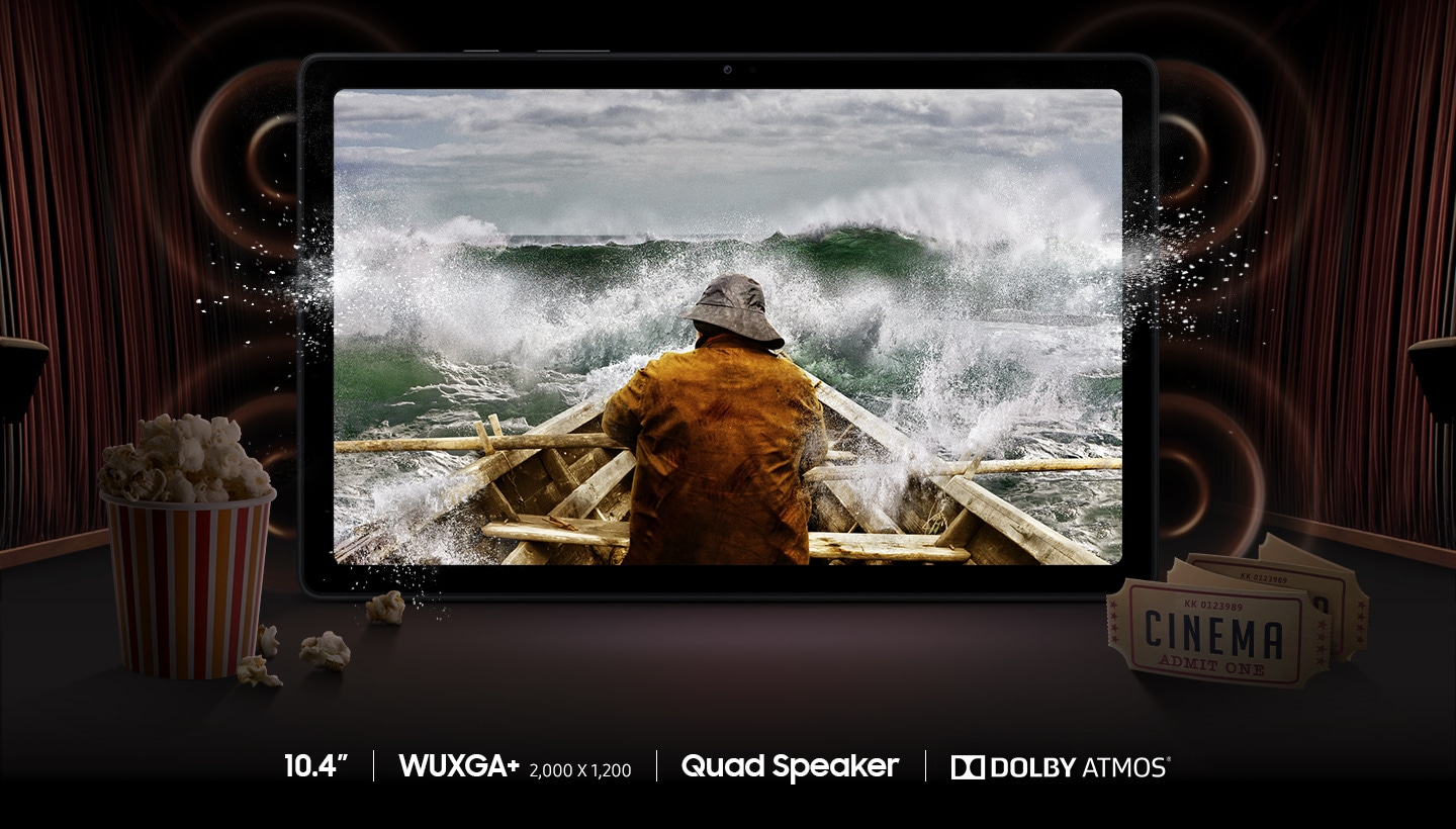 A movie scene is shown on Galaxy Tab A7's WUXGA+ 2,000 x 1,200 resolution screen next to movie theater tickets and popcorn.