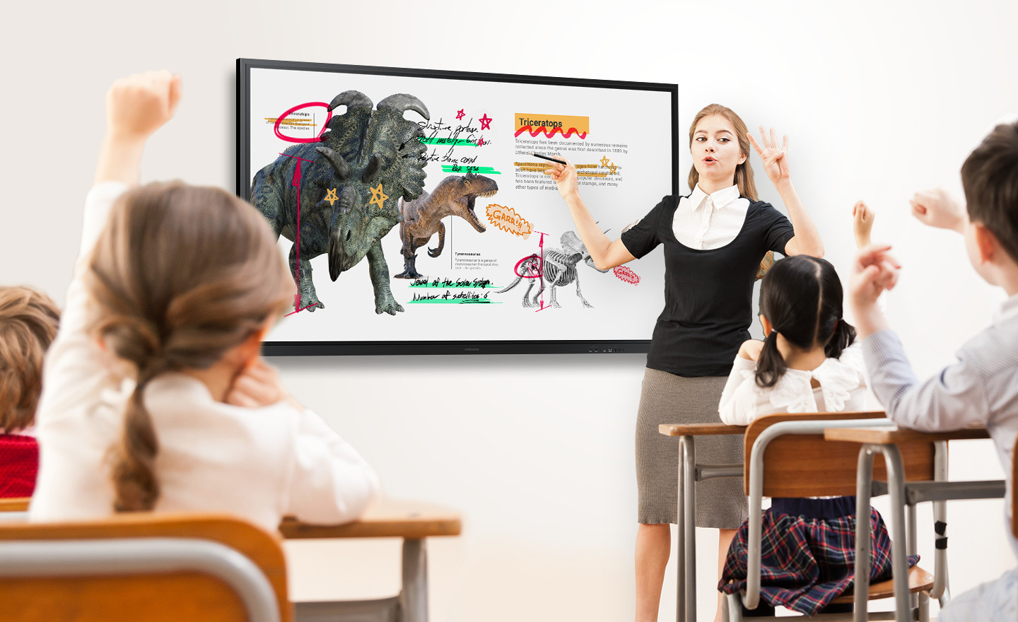 In a classroom, a teacher uses the Flip 3 to instruct students.