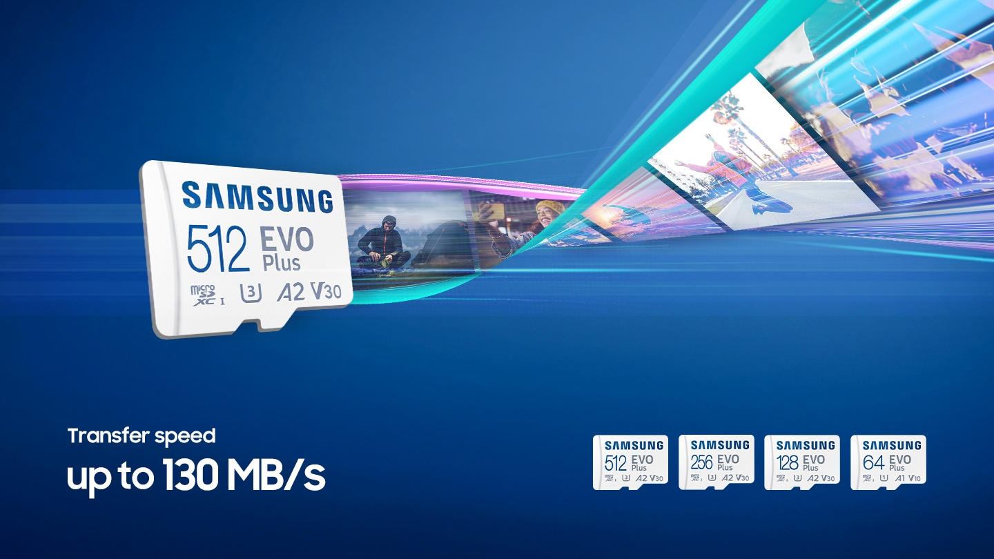 microSD seen at a dynamic angle, with streaks of blue light to represent its fast speed. Sequential speed of up to 130MB/s.