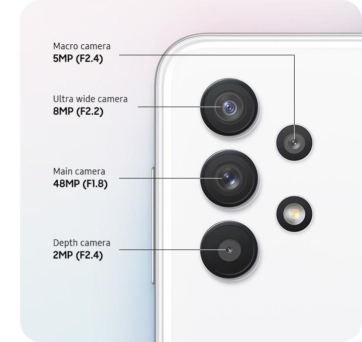 A rear close-up of advanced Quad Camera, showing F1.8 48MP Main Camera, F2.2 8MP Ultra Wide Camera, F2.4 2MP Depth Camera and F2.4 5MP Macro Camera.