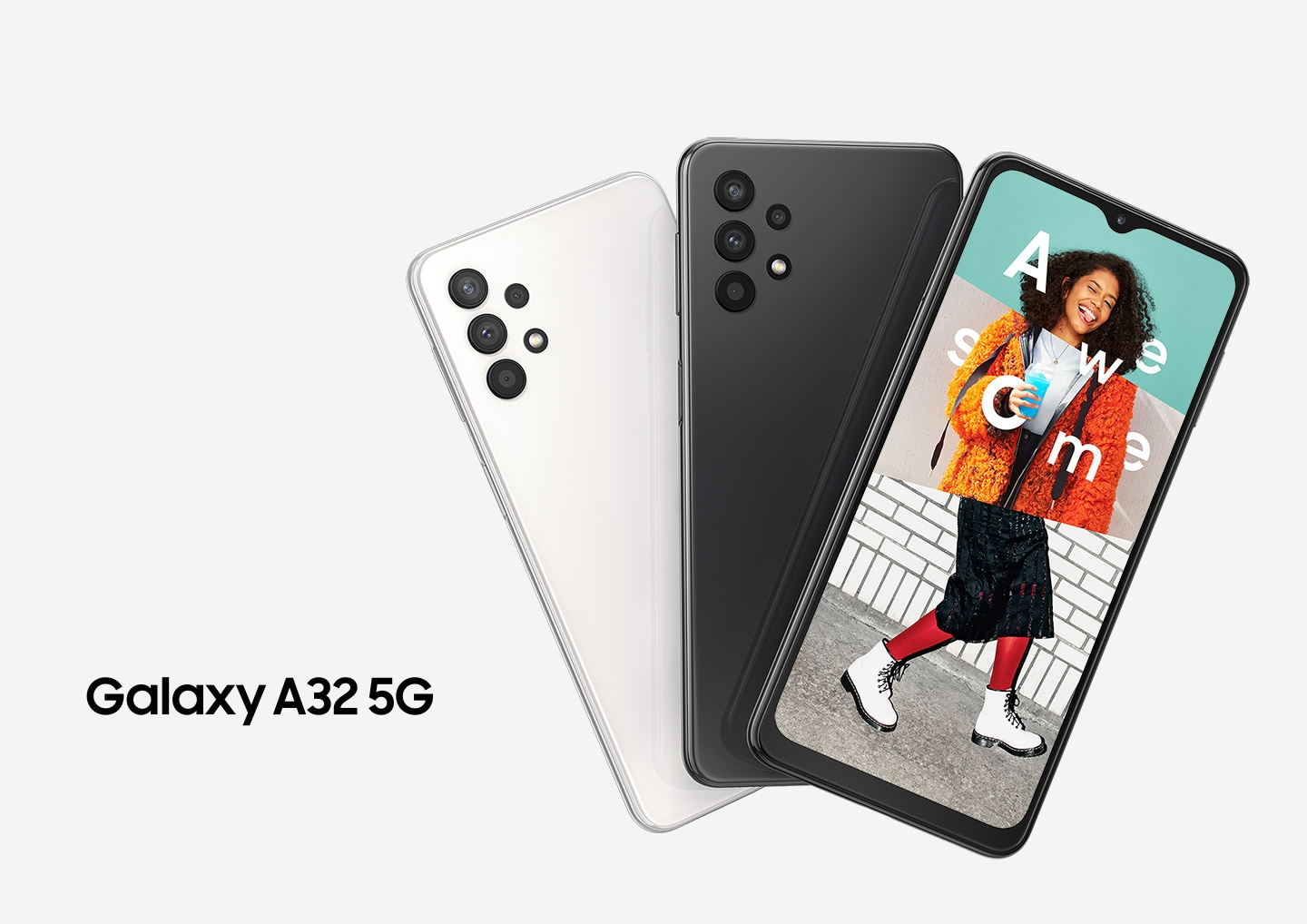 Galaxy A32 5G Key visual comes out in three devices with its official logo on the side. On the screen, an excited young woman is starring at the camera, surrounding the text of `Awesome` on herself.