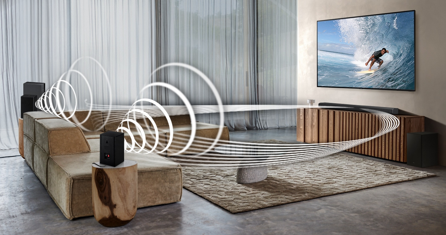 Soundwave graphics are playing from Samsung Wireless Rear Speaker Kit and Soundbar, demonstrating Wireless Surround Sound Compatibile feature of Samsung soundbar.