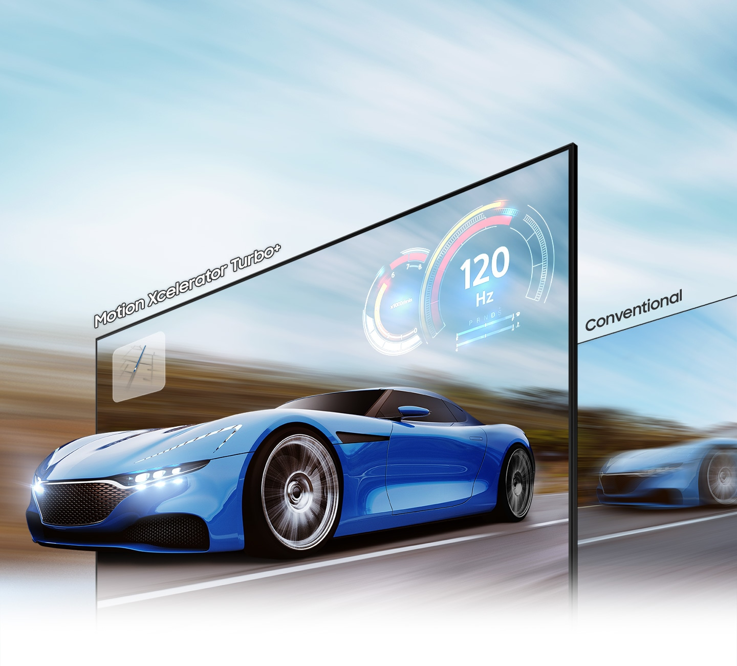 A racing car on the TV screen looks clearer and more visible on the QLED TV than on conventional TV due to motion xcelerator turbo+ technology up to 4K 120Hz.