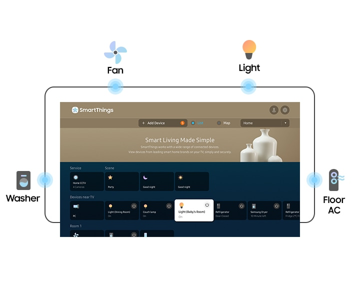 QLED TV shows SmartThings user interface. SmartThings identifies all of the connected devices near the QLED TV. Washer, Fan, Light, and Floor AC graphic icons are placed around the interface to illustrate popular devices for connecting.