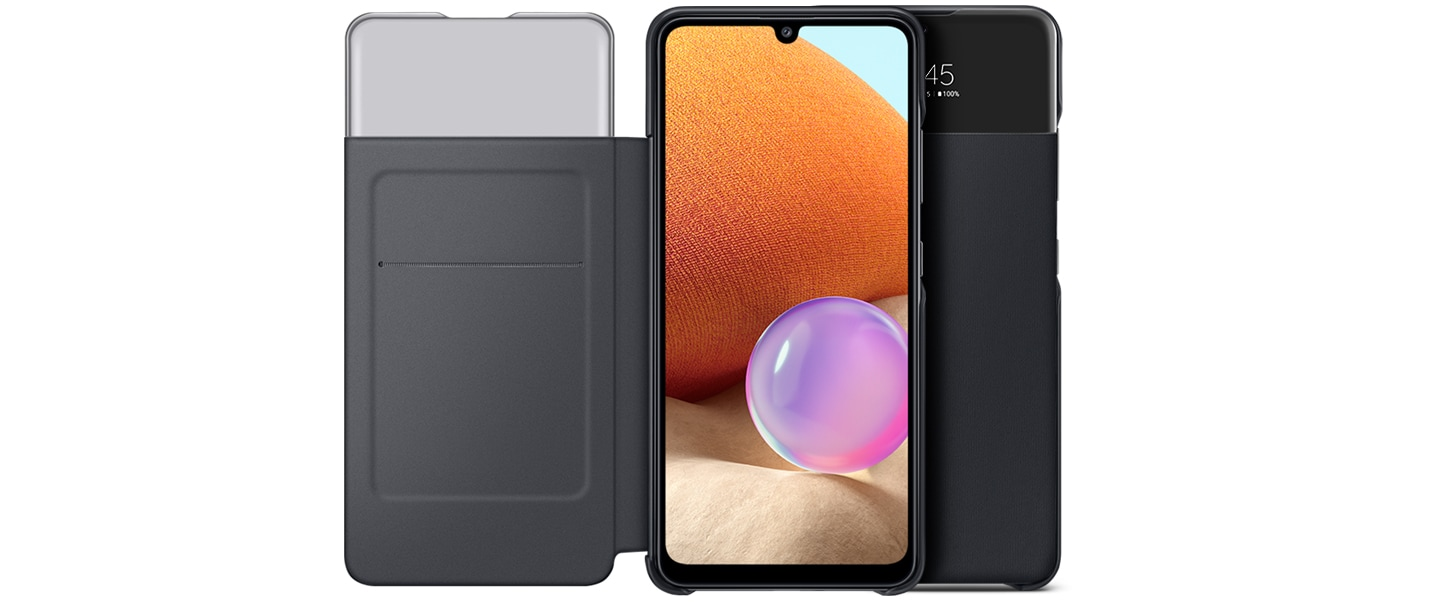 Two Galaxy A32 with black S View Wallet Covers overlap side by side. The case in front is opened, showing on-screen of the device. and the other cover in back is closed.