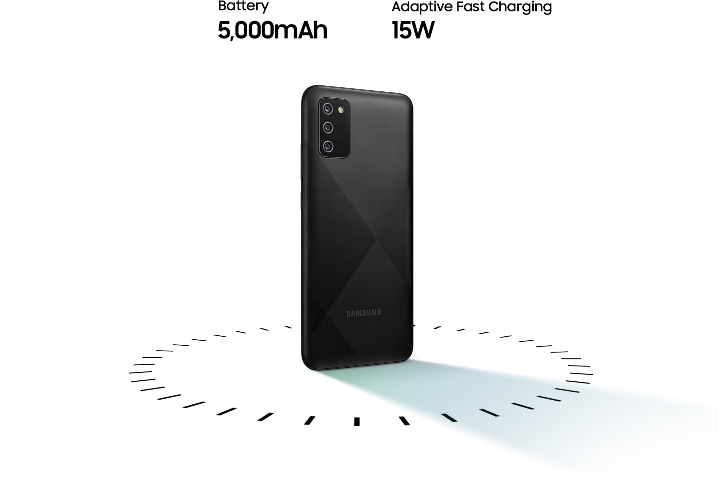 Galaxy A02s stands up, surrounded by circular dots, with the text of 5,000mAh Battery and 15W Adaptive Fast charging.