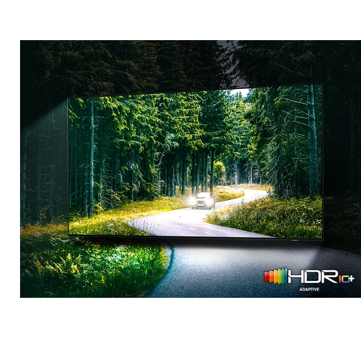 A car is running with lights on through the dense green forest on the TV screen. QLED TV shows accurate representation of bright and dark colors by catching small details.