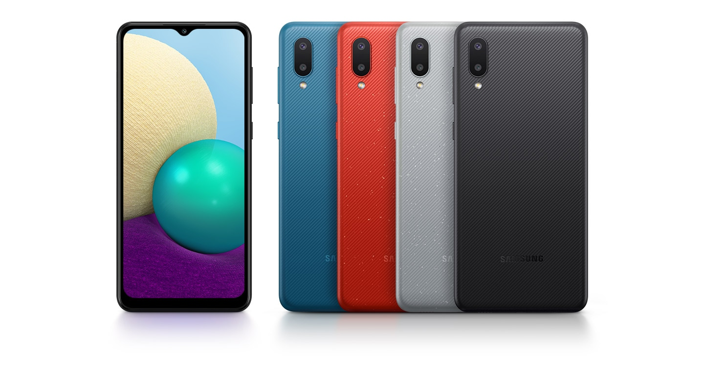 Five devices are displayed to appeal their colors and design. Four reversed ones are in blue, red, silver and black while one is looking at the front.